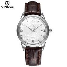 VINOCE hombres reloj de moda casual reloj deportivo correa de cuero movimiento mecánico impermeable marca de lujo calendario pantalla V633233G