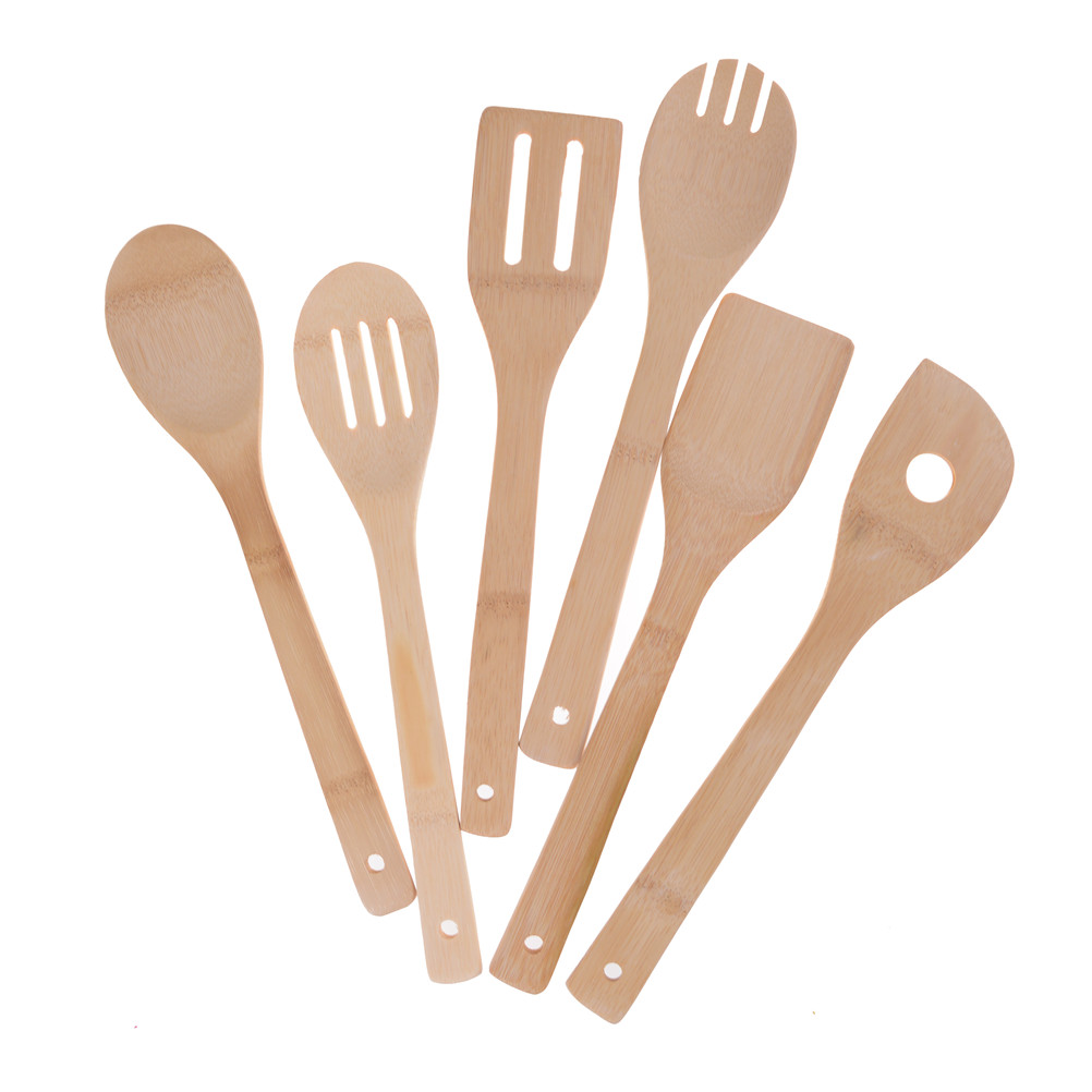 Bambou Ustensiles en Bois Spatule Cuillère de cuisine Ustensiles de cuisson outils Set