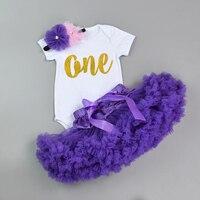 New Design 3 Pcs Bodysuit Do Bebê Do Algodão Conjunto Bebes Recém-nascidos Meninas Romper + Layered Pettiskirt + Headband Da Flor Aniversário Melhor presente