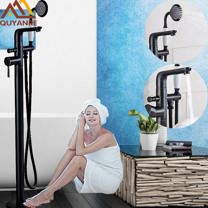ORB Single Handle With Plastic Handshower Floor Standing Bathroom Tub Mixed Water Bath Faucet Hot and Cold Water Tap Black Color