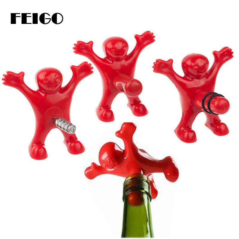 FEIGO 1Pcs Happy Red Man Beer Wine Opener And Stopper Multifunction Stainless Steel Soda Bottle Bar Tools Novelty Cork Plug F347