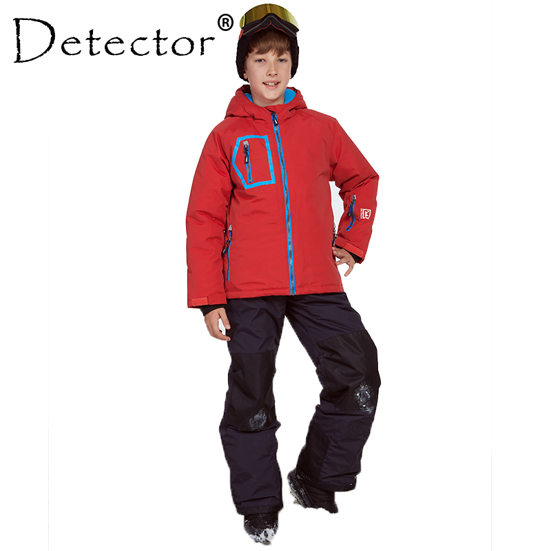 Detector Winter Jacket and Pants Ski Snowboard Suit Thicken Boys Clothing Outdoor Set Winter Twinset Suitable -20-30 degree printed jacket and pocket design pants twinset