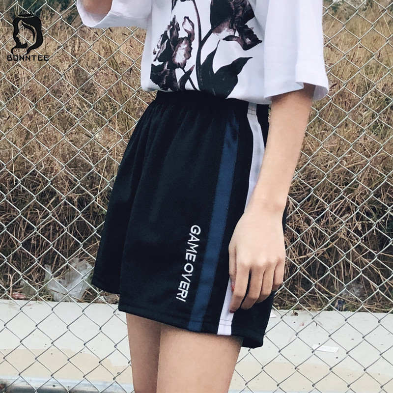 Summer Thin Fashion Women   Short   Womens Loose Letter Embroidered Trendy High Waist Female Stretchy   Shorts   Females Breathable Girl