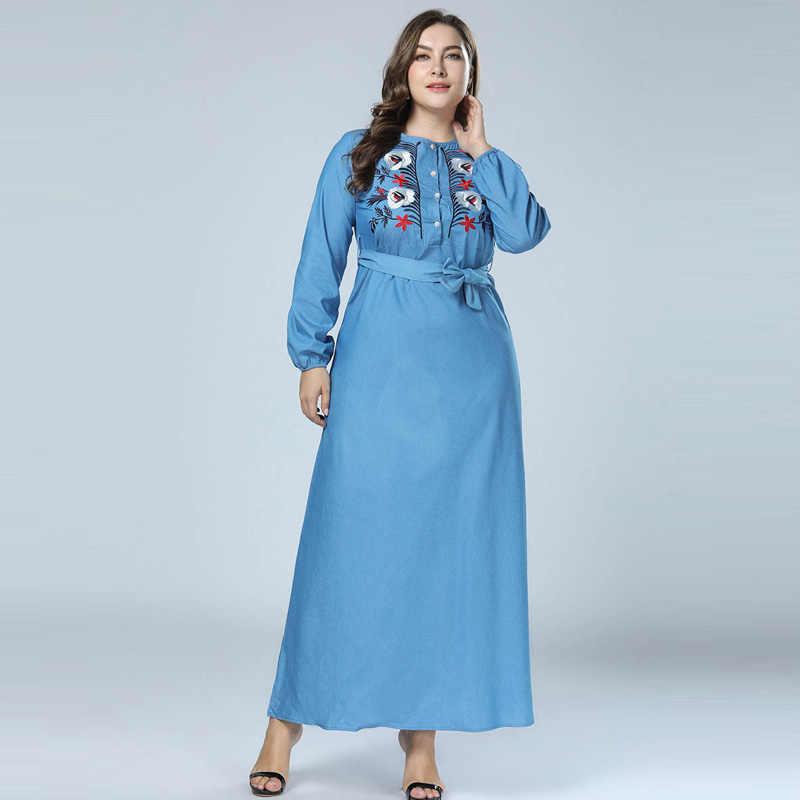 af0948db65 Abaya Muslim Maxi Dress Islamic Arabic Abayas Denim Long Sleeve Jean Dress  Pakistani Dubai Dresses for