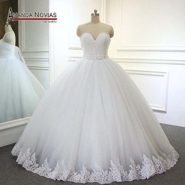 2017 Vestido De Noiva Strapless Beaded Top V Neck Amanda Novias Wedding Dress