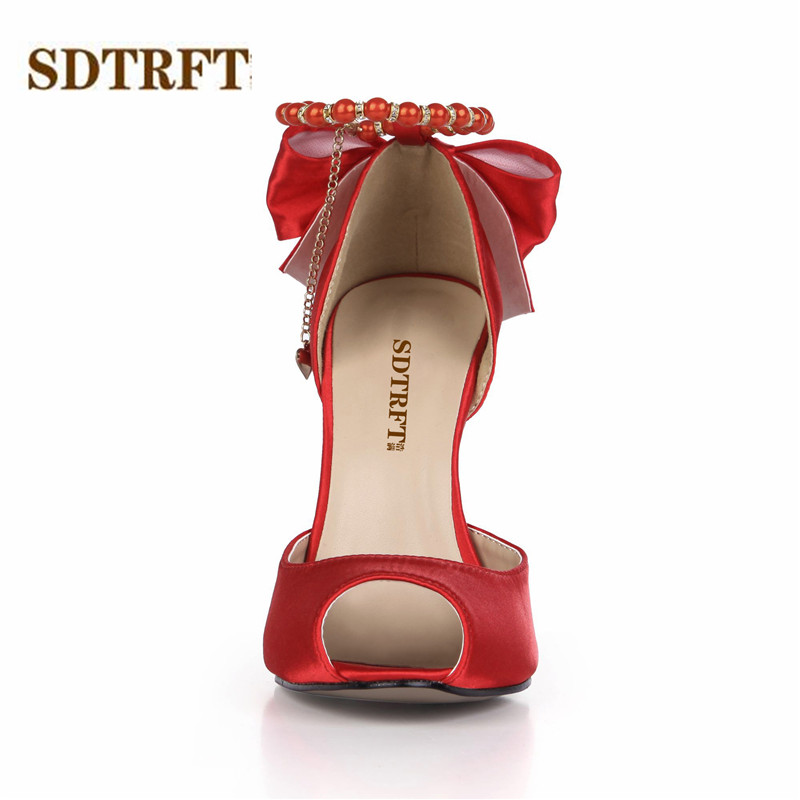 SDTRFT zapatos mujer Sweet Bowtie sandals 12cm thin heels Open Toe wedding shoes woman Pearl Ankle Strap pumps Plus:35-42 43