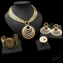 Yulaili Free Delivery 2017 Round Design Pure Rose Silver Gold Color Anniversary Jewelry Set Party Four Jewelry Sets