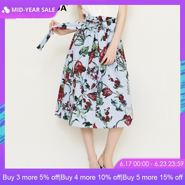 VeroModa 2019 Spring Summer New Printed Lace-up Plaid Skirt |318216516