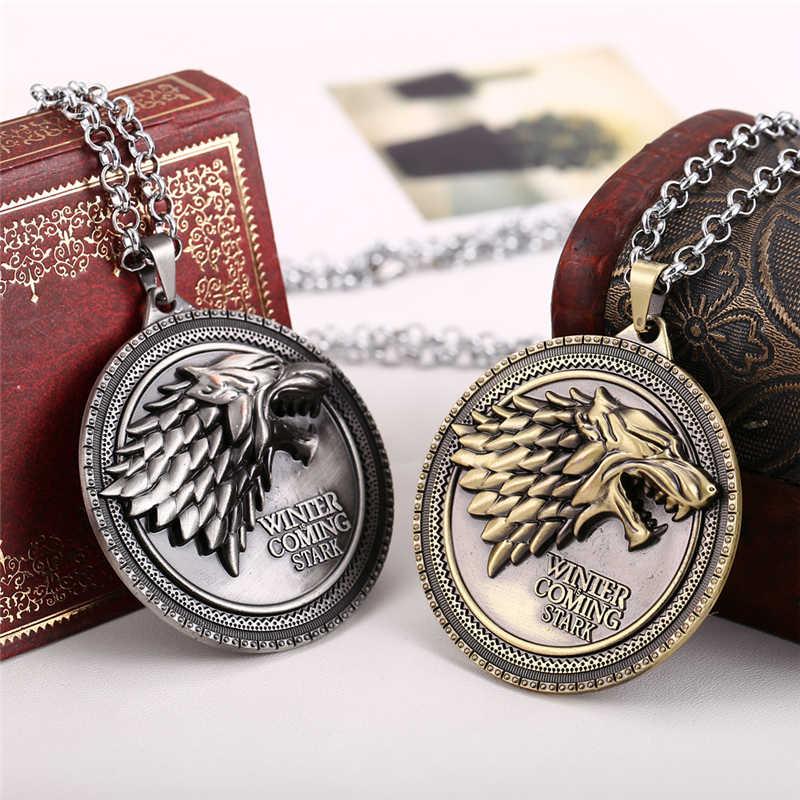 Game of Thrones Casa Stark de Winterfell Viking Lobo Cabeça Do Vintage Colares Pingente de Colar A Song of Ice and Fire presentes do evento