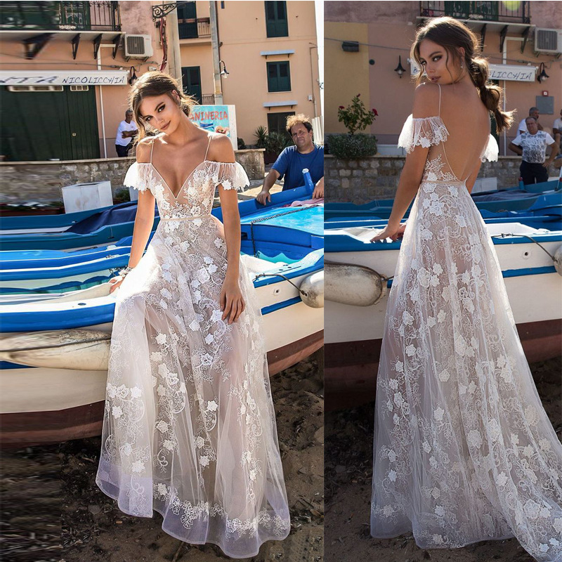 White Evening Dresses Long Evening Gowns For Women Sexy Deep V-neck Robe De Soiree Backless Lace Appliques Evening Dress ES2598