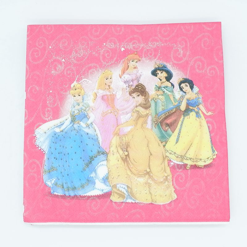 4 Single Paper Napkins for Decoupage Princess Birthday Cake Balloon