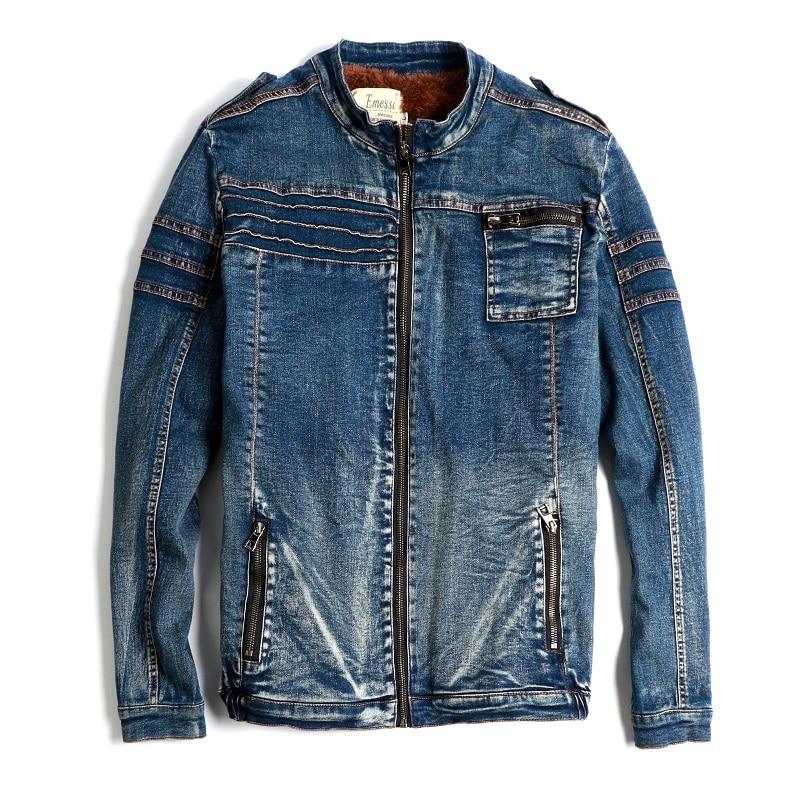 Mens Denim Jeans Zipper Coats Jacket Fleece Liner Thick Winter Motorcycle Peacoat Outwear Slim Fit New A418 - 5