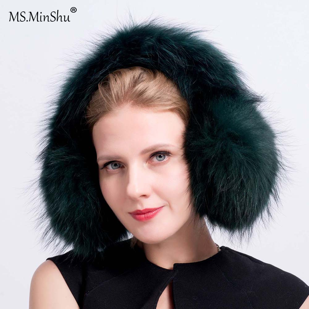 MS.MinShu Unisex Genuine Raccoon Fur Earmuff Winter Ear Warmer Fluffy Fox Fur Earflap Fashion Ear Cover Neck Wamer