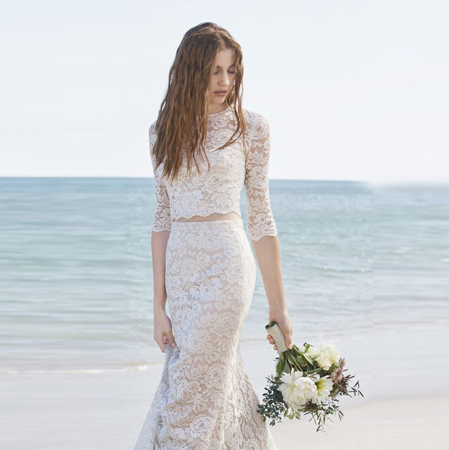 Online Get Cheap 2 Piece Lace Beach Wedding Dress -Aliexpress.com ...