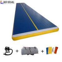 Новый дизайн синий цвет падение стежка материала, надувной коврик для гимнастики акробатика коврик 10 м x 2 м x 20 см
