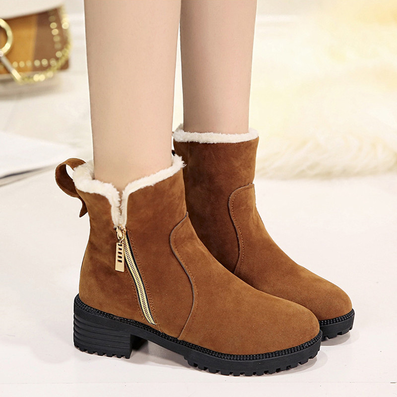 Nine Seven Suede Leather Womens Square Toe Chunky Heel Zip Handmade Bowtie Ankle Boots