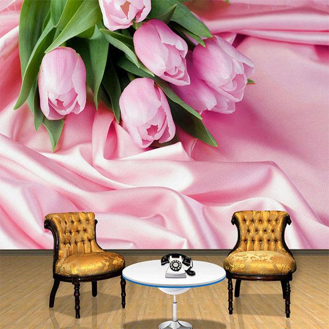 Online Shop Papel De Parede Floral 3D Romantic Tulip Pink Flower ...