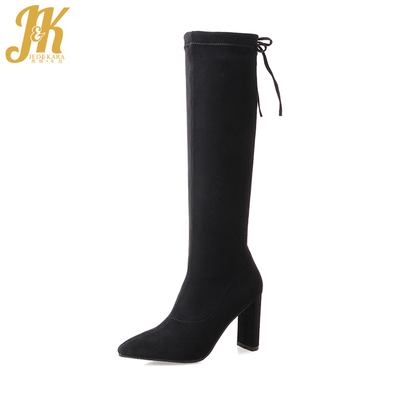 JK Genuine Suede Stretch Boots for Women Fashion Pointed toe Knee Boots Thick High Heels Ladies Shoes Woman Lace up Footwear