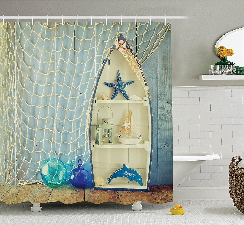 Aliexpress.com : Buy Blue Shower Curtain Nautical Decor ...