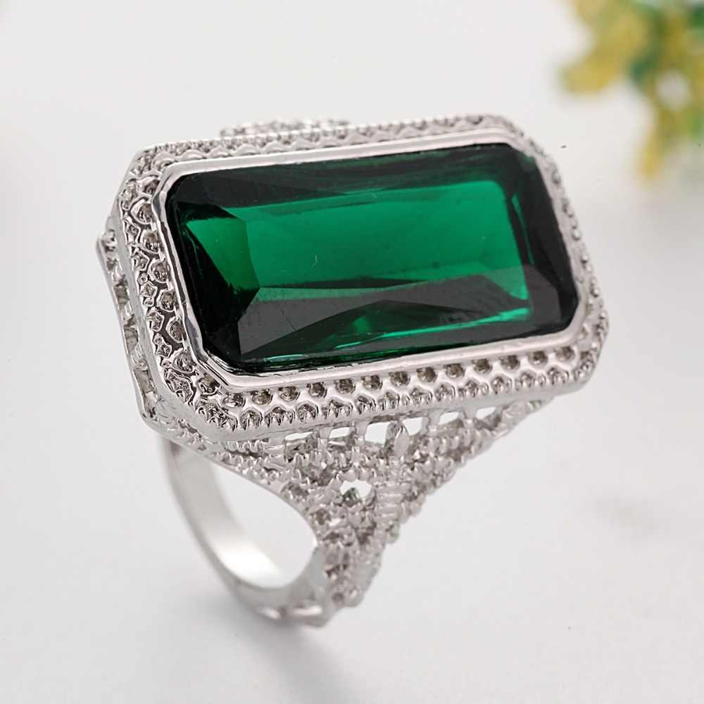 ヴィンテージグリーンリング正方形スリヴァー色リングブルガリア女性の婚約指輪ジュエリー Anillos Mujer F5N543