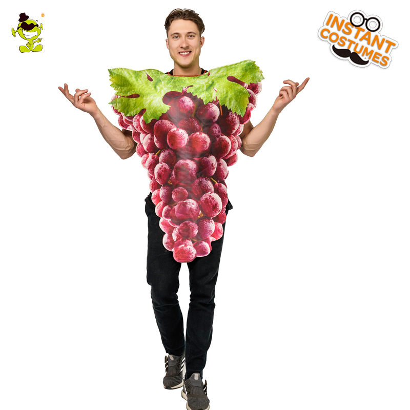 2018 Adult Men s Grapes Costume Masquerade Carnival Halloween Fancy Dress  Up Cosplay Purple Grapes Jumpsuit fbe333143