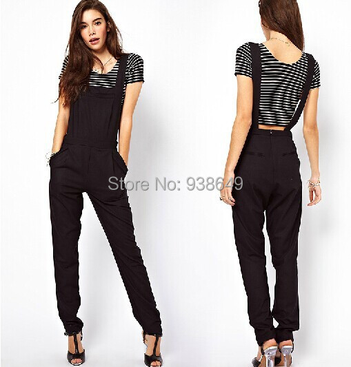 2014 Sexy Black Jumpsuit overalls for women macacao female ...