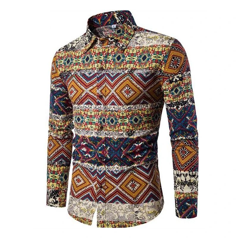 Allthemen Mens Dress Shirts Long Sleeve Funky Printed Linen Shirt Casual Shirt Fancy Floral Tops Unique Pattern