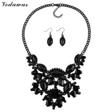 Vedawas 2016 Fashion Jewelry Sets Women Rhinestone Bead Collar Choker Necklace Vintage Earrings Maxi Statement Jewelry Sets 1867