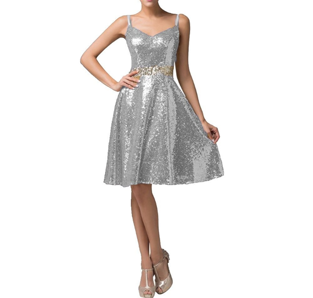New Silver Sequined Bridesmaid Dresses 2017 Plus Size Wedding Party ...