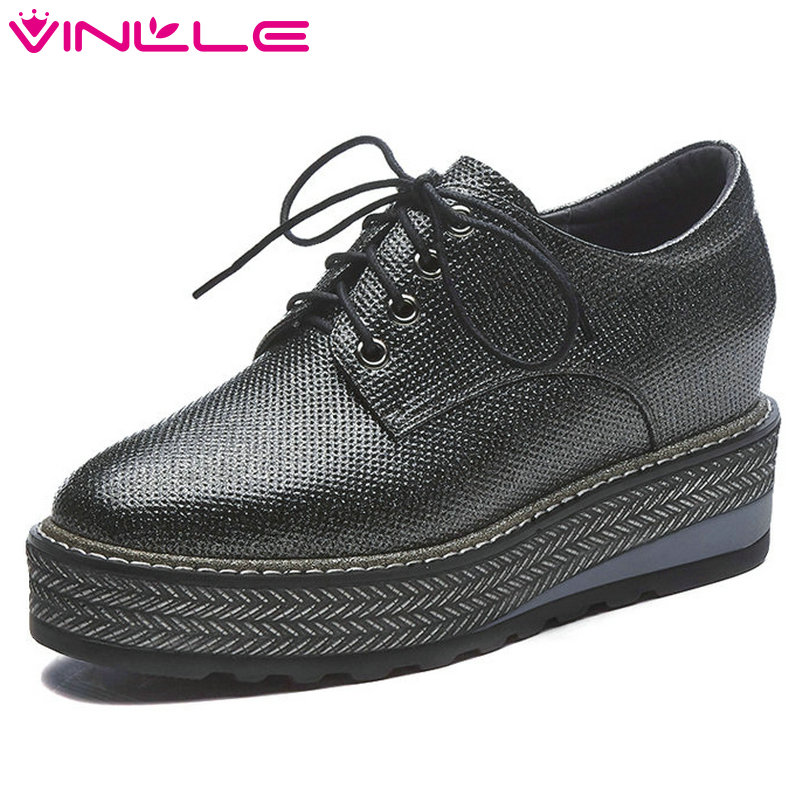 VINLLE 2018 Women Pumps Round Toe Genuine Leather Wedge High Heel Gray Platform Lace Up Ladies Wedding Shoes Size 34-42 nayiduyun women genuine leather wedge high heel pumps platform creepers round toe slip on casual shoes boots wedge sneakers