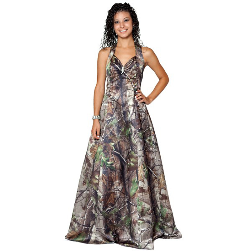muddy girl realtree max 4 wetland camo prom dresses 2018 halter ...