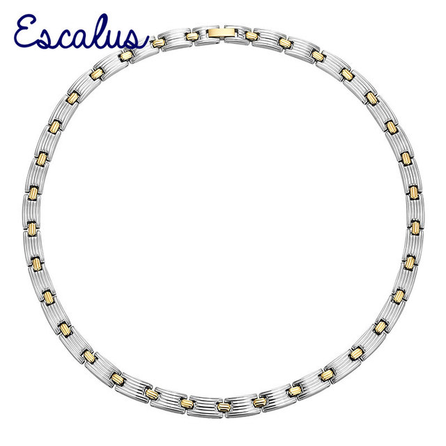 Escalus Magnetic Women 2-Tone Gold 316L Stainless Steel Necklace Ladies Magnetic Bio Jewelry Gift Neckwear Charm For Health