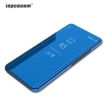 Чехол для samsung Galaxy A7 2018 Роскошные Смарт-зеркало посмотреть Флип Кожа полное покрытие для samsung A7 2018 A750 SM-A750F чехол для телефона