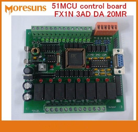 Fast Free Ship PLC Industrial Control Board 51MCU Control Board FX1N 3AD DA 20MR Programmable Control