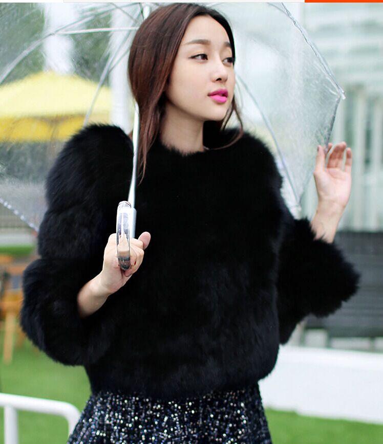 Новое поступление, модное женское меховое пальто, высокое качество, искусственный Лисий мех, пэтчворк, короткое пальто, женская зимняя теплая куртка, парка - Цвет: black
