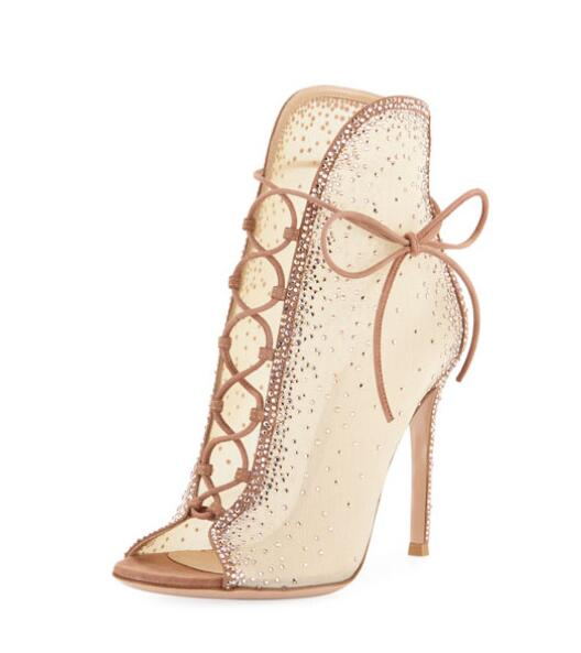 Elegant Beige Lace Crystal Embellished Ankle Boots Deep V Style Women Lace-up Open Toe Stiletto Heels Mesh Tie-up