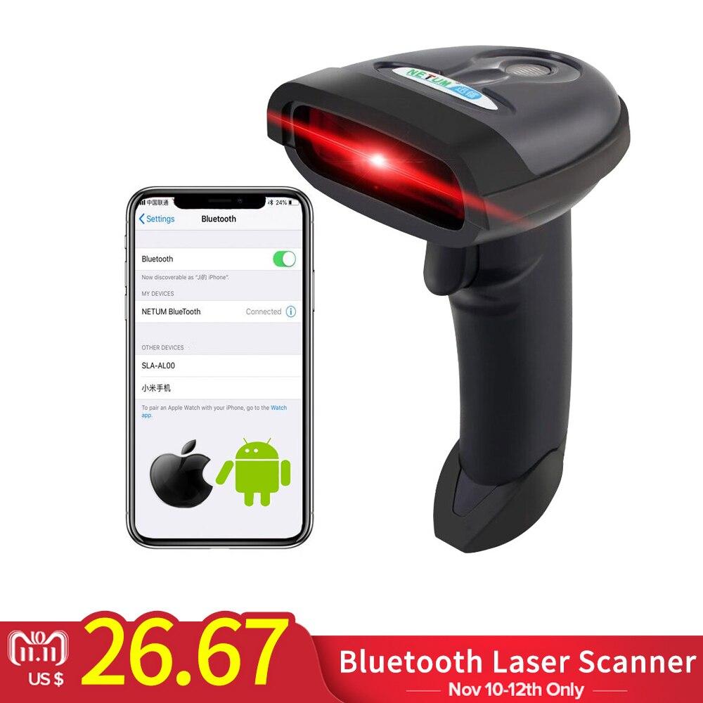 NETUM Bluetooth Wireless Barcode Scanner Handheld 1D Laser Bar Code Reader Support Android/iOS/Windows jp b2y wireless bluetooth barcode scanner free shipping bluetooth usb laser bar code reader support for ios android windows
