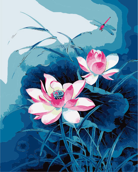 Frameless Diy Lotus Flower Diy Painting By Numbers Unique Gift