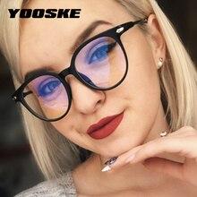1fae64d41 YOOSKE 2019 Mulheres Óculos de Armação Óculos de Armação Dos Homens Anti  Luz Azul Rodada Do Vintage Lente Clara Óculos de Armaçã.