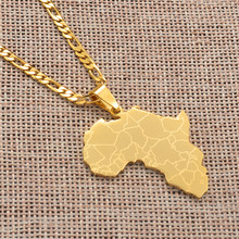 Anniyo Africa Map Pendant Necklaces Women Men Gold Color African Jewelry #077621B(China)