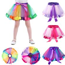 Girl Baby Cute Colorful Rainbow Mesh Princess Skirt for Holiday Party