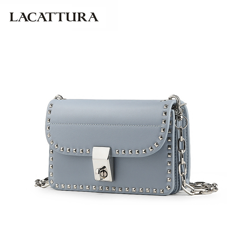 LACATTURA Women Shoulder Bag Split Leather Handbags Fashion Crossbody for Ladies Chain Messenger Bags Rivet Purse Mini Clutch цена в Москве и Питере