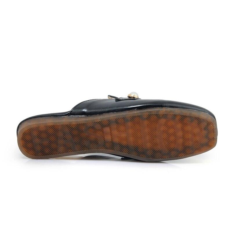 Sur Kcenid Printemps Appartements Slip army Plus Pantoufles Les Perles De Semelle Nouveau Toe Chaussures Doux Green 44 Femmes 2018 Taille blanc jaune Occasionnels Noir Mode Square rPfqErx