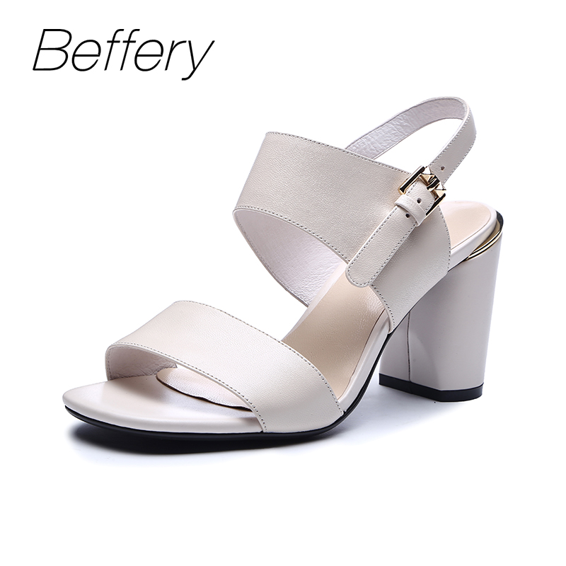 цена на Beffery Summer sandals Women Genuine Leather High heels Shoes for Women chaussures femme ete 2018 sandals