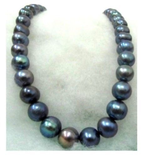 free shipping Hot sell Noble- >>>@@ SA HUGE 12-13mm black TAHITIAN pearl necklace 18inch white SOLID GOLD MARKED цена и фото