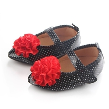 Newborn Baby Girls Bow Leather First Walkers Soft Soled Crib Lace-up Shoes Non-slip Footwear 0-18M