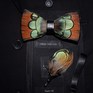 Image 3 - JEMYGINS الأصلي إيطاليا تصميم جديد ربطة العنق ريشة Brid الطبيعية رائعة يدوية الرجال ربطة القوس فيونكة بروش دبوس علبة هدايا خشبية مجموعة