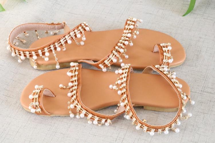 HTB1UigQaLvsK1RjSspdq6AZepXaD Women sandals summer shoes flat pearl sandals comfortable string bead slippers women casual sandals size 34 - 43