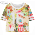 2017 summer style harajuku cartoon unicorn floral letters kawaii graphic print Tee short t shirt women bustier crop tops TS-080