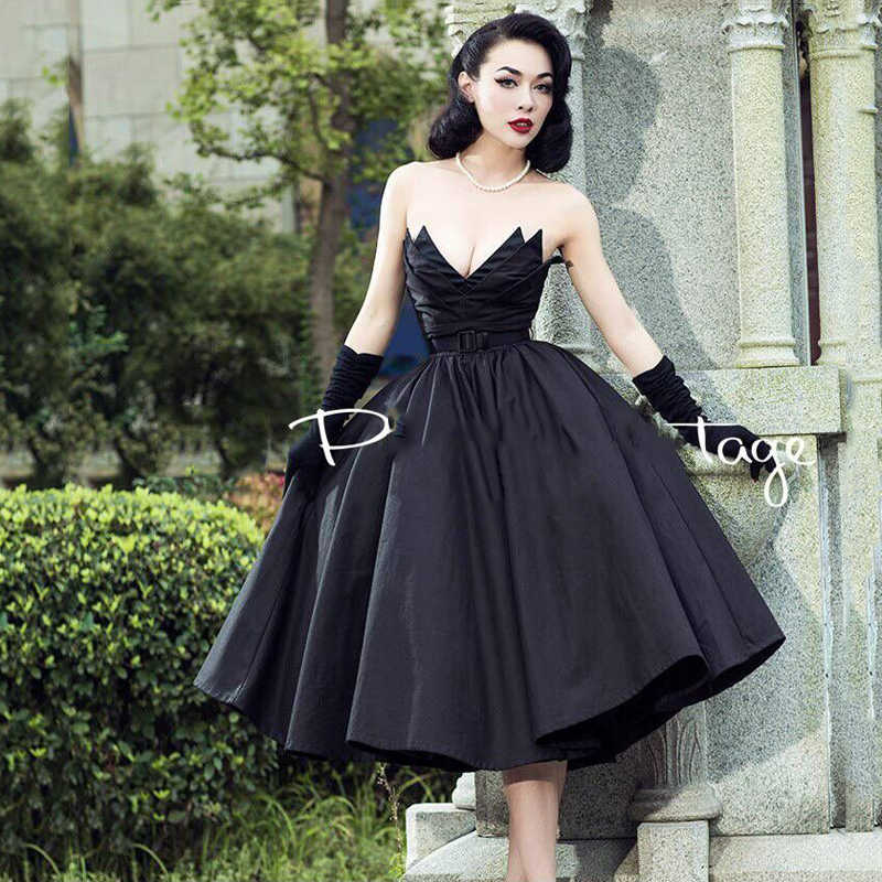 72f4a2d98ad ... Black Vintage Strapless Evening Dress Ball Gowns Puffy Pleated Custom  made Chic Formal Dresses Vestidos de ...